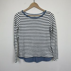 LOFT Sweater Blouse Striped White Blue Sz: M
